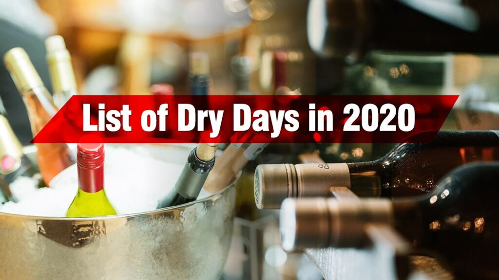 Here's A List Of All The Dry Days In 2019